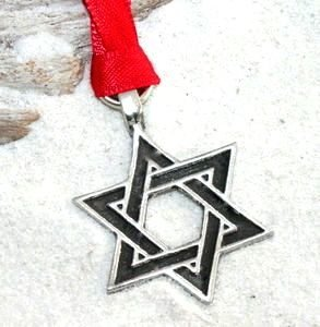 Trilogy Jewelry Pewter Star of David Hanukkah Jewish Christmas Ornament and Holiday Decoration