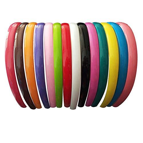 Yazon 13pcs 15mm Plastic Headbands for Girls Women Colorful Hair Headband with Teeth Thin Hair Bands