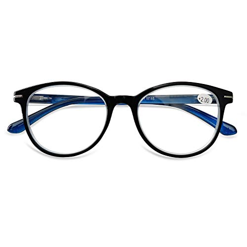KOOSUFA Lesebrille Herren Damen Retro Runde Lesehilfe Sehhilfe Federscharniere Vollrandbrille Anti Müdigkeit Brille 1.0 1.5 2.0 2.5 3.0 3.5 4.0 (Blau, 1.5)