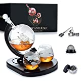 WEEBNG Whiskey Decanter Set,Globe Wine Decanter Set with 2 Glasses,Cleaning Beads,4 Stainless Steel Ice Cubes and Ice Tong,Beverage Drink Liquor Dispenser - Gift Set for Liquor, Scotch,Bourb(29oz)