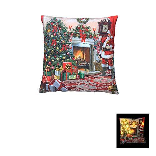 The Good Life Leuchten Que Papá Noel con árbol de Navidad Escena 12LED cojín 40x 40cm y Coloca un