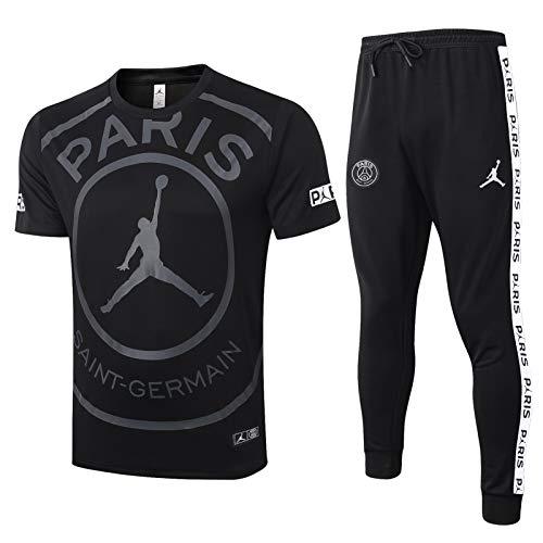 LQRYJDZ París transpirable en primavera y verano traje de entrenamiento de manga corta traje de fútbol de fútbol adaptada para hombre Top + pantalones Trajes de fútbol Uniformaje de equipo de fútbol (