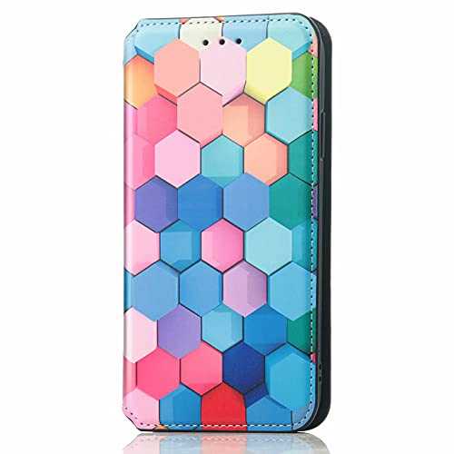 TYWZ RFID Blocage Fentes pour Cartes Coque Etui pour Samsung Galaxy S9,Antichoc TPU Housse PU Cuir Portefeuille Etui Magnétique Support Cover-Coloré Cube