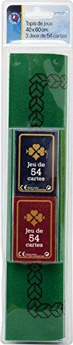 Vauchier - 710 - Jeu de Cartes - Tapis Feutre 40x60 cm - Avec 2 Jeux De 54 Cartes