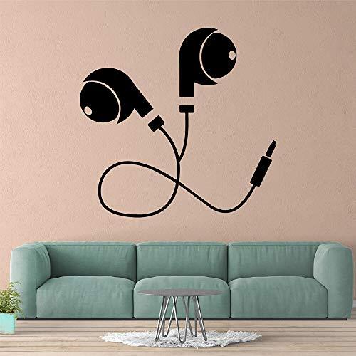 Opprxg Auriculares Pegatinas de Pared decoración del hogar Fondo Arte de la Pared calcomanías57cmX 59cm