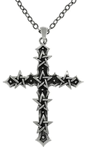 Jewelry Trends Star Pentacle Druids Cross Pewter Pendant Necklace 23'