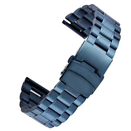 YISUYA - Cinturino di ricambio in acciaio inox, per uomo e donna, 18 mm, 20 mm, 22 mm, colore: blu 20 mm