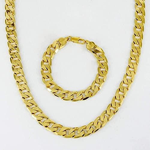 NC134 Conjunto de Pulseras de Collar de África para Hombres, joyería de Cobre de Color Dorado, Cadena Pesada de Hip Hop, etíope/árabe/Medio Oriente 60Cm