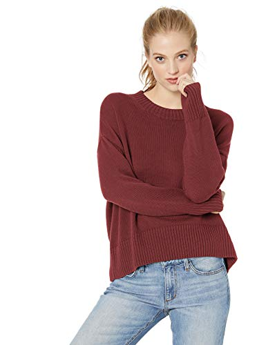 Amazon Brand - Daily Ritual Women's 100% Cotton Boxy Crewneck Pullover Sweater, Burgundy, X-Large