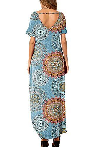 Vestidos Mujer Casual Playa Largos Verano Floral Vestido Boho Hendidura Falda Larga Maxi Vestido Playeros Bluefloral XXL