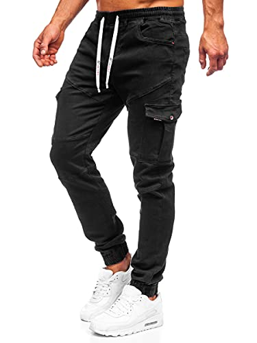 BOLF Hombre Pantalón Jogger Cargo Pantalones de Algodón Pantalón Bajos Ajustados Fitness Deporte Sport Casual Slim Fit Ocio Estilo Urbano R31016S0 Negro XL [6F6]