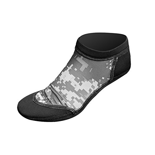 Tilos Low Cut Sport Skin Socks for The Beach: A for Everything on The Sand; Water Sports, Snorkeling, and Diving (Digital Gray, X-Large)