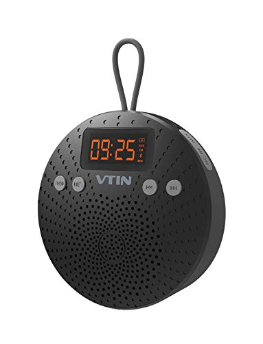 Mini Altavoz Bluetooth, Altavoz Ducha Radio FM, Altavoz Portátil Bluetooth, Micrófono para Llamadas, con Pantalla LCD Reloj, Impermeable IPX5, para Ducha, Piscina, Playa