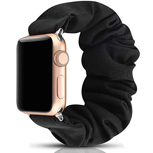 Miimall Scrunchie Armband Kompatibel mit Apple Watch 40mm/38mm, iWatch Stoff Armbänder Damen, Weich und Dehnbar Elastizität Gummizug Ersatzband für Apple Watch Series 5/4/3/2/1 - Schwarz