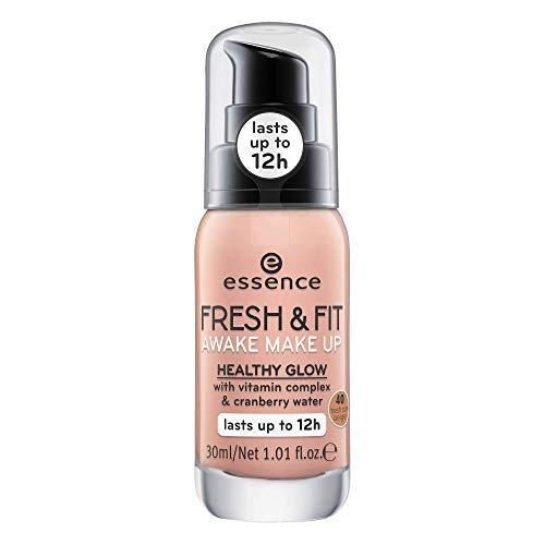 essence FRESH & FIT AWAKE MAKE UP, MakeUp, Foundation, Nr. 40 fresh sun beige, nude, für Mischhaut, ohne Parabene, Nanopartikel frei, glutenfrei (30ml)