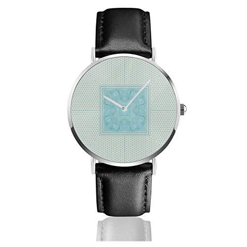Reloj de moda con patrón geométrico de mármol turquesa, movimiento de cuarzo, correa de reloj de cuero impermeable para hombres y mujer