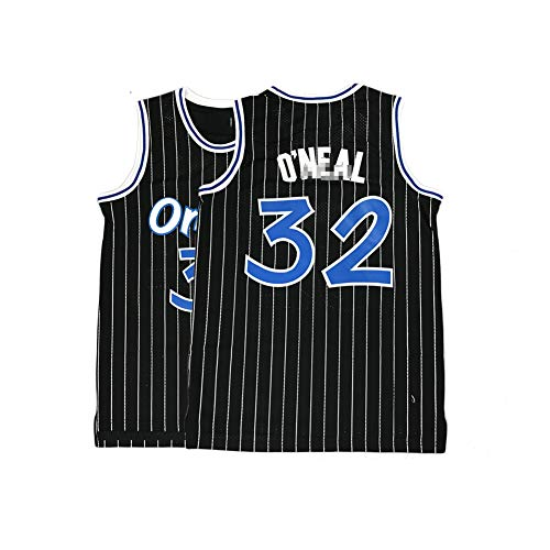 Men's Orlando 32 Jersey O'Neal Sport T-Shirts Shaquille Stripes Mesh Tank (Black, L)