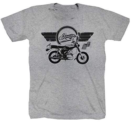 Camiseta S51 Simson S 51 Enduro MZ TS ETZ POS DDR Schwalbe Mofa Moped gris gris XXXXL