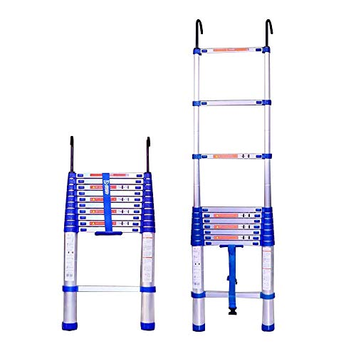 Jiamuxiangsi- Telescopische ladder - Huishoudelijke dikke vouwen ladder, heffen trap aluminium ladder, engineering ladder - met haak - 11 maten Stap kruk