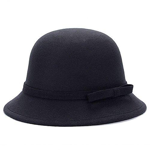 Tobe-U Cubo Cloche de Color s¨®Lido con Bowler Fedora Floppy Derby Vintage Artificial Sombrero de Fieltro Gorra para Mujeres
