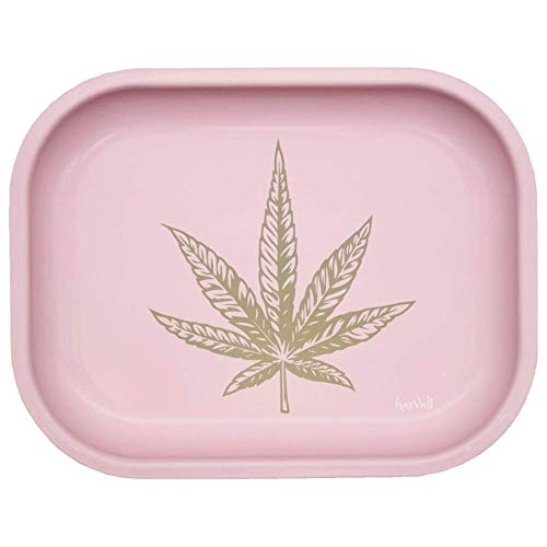 Matte Pink Rolling Tray Girly - Cigarette Rolling Trays Premium Metal Small Cute Rolling Trays with Design - Gifts for Stoners Girls Mini Travel Smoke Tray for Herb Tobacco Accessories, 7'' X 5.5''