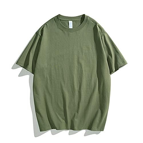 Camiseta de algodón para hombre de un solo color, camiseta básica de verano, camiseta informal de manga corta y cuello redondo, color negro, vino, verde, verde menta, verde militar Verde militar. L