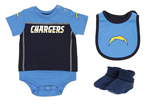 Outerstuff San Diego Chargers NFL Baby Boys Newborn Infant LIL' Jersey 3 Piece Bodysuit Set
