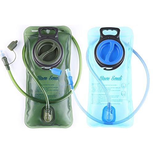 Baen Sendi 2 Pack Hydration Bladder 2 Liter/70 oz - Pack of 2(1 Piece Blue+1 Piece ArmyGreen) - BPA Free Hydration Pack Replacement