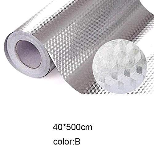 Lanceasy Keukenwandsticker, aluminiumfolie, waterdicht, verwijderbaar, zelfklevend oliebestendig behang