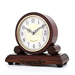 FCZH Mantel Clock Chiming with Westminster Chimes, Wooden Desk Table Shelf Clock, Battery Living Room Silent Standing Classic Mantle Clocks That Chimes on The Hour,28.524.3cm