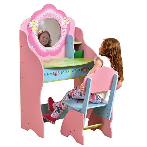 Liberty House Toys Fairy Dressing Table and Chair Schminktisch und Stuhl-Set, Holz, Rose, 120cm H x 68cm W x 39cm D