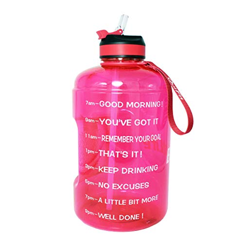 BuildLife Gallon Motivational Water Bottle with Time Marked to Drink More Daily and Nozzle,BPA Free Reusable Gym Sports Outdoor Large(128OZ) Capacity(Pink, 1 Gallon)