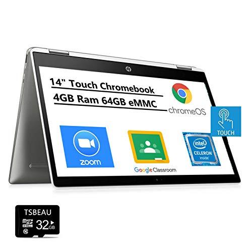 Newest HP Chromebook x360 14' HD 2-in 1 Touchscreen Laptop, Intel Celeron N4000 up to 2.6 GHz, 4GB Memory 64GB eMMC, Online Class, USB, Bluetooth, Chrome OS, Bundled with TSBEAU 32GB Micro SD Card