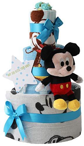 オムツケーキ 出産祝い ディズニー disney 身長計付きバスタオル 名入れ刺繍 3段 おむつケーキ ぬいぐるみ (ナチュラルムーニー オーガニックコットン(テープタイプMサイズ), 男の子向け(ブルー系))