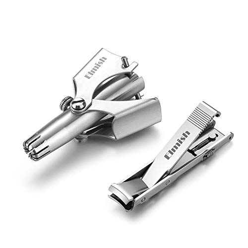 Manual Nose & Ear Hair Trimmer by Elmish (No Batteries Required) with Fingernail Clipper - Perfect Manual Stainless Steel Nose Hair Remover for Men & Women EM-003+NC-E