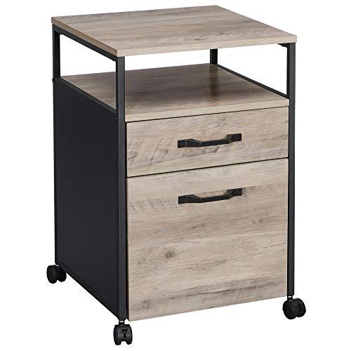 VASAGLE Aktenschrankmit2 Schubladen,mobilerBüroschrank mit Rädern,Rollcontainer,offenes Fach,Hängeregistratur,stabiles Stahlgestell, Industrie-Design, Greige-schwarzOFC071B02