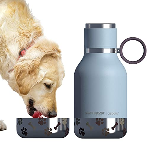Asobu Dog - Pet Bowl attached to Stainless Steel Insulated Travel Water Bottle 1 Liter (Blue)