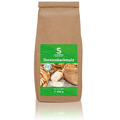 Schoefer Bio Backmalz hell – enzymaktives Malzmehl – 100% Gerste ohne Zusatzstoffe – Gersten-Malz für knusprige Brote und Brötchen – 400g