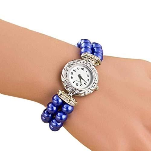 Waterdicht mode Dfch Vrouwen Pearl Quartz Bracelet Watch (Blauw) (Color : Blue)
