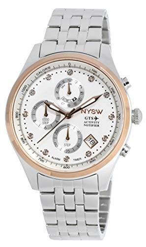 NYSW   Reloj Inteligente híbrido con Cristales de Swarovski, Hermoso Cristal de Zafiro, Calendario perpetuo, Impresionante Segunda Mano y más (TC-TS-04)