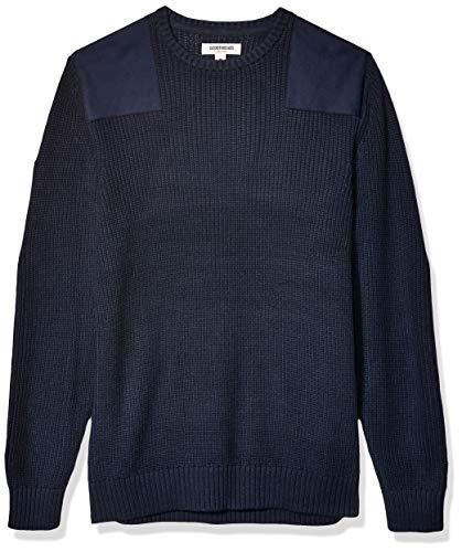 Amazon Brand - Goodthreads Men's Soft Cotton Military Sweater, Navy Small