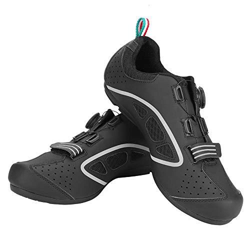 Anti-Slip Cycling Shoes Men Road Cycling Shoes Biking Shoes,(Black, 44)