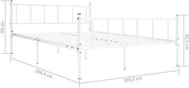 Lechnical Cadre de lit en métal Pratique dans la Chambre, Cadre de lit en métal Blanc de Style Moderne 206,4 x 205,2 x 80 cm