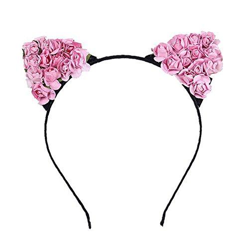 Blue Vessel Florale Katze Ohren Haarreif Party Kostüm Kopf Haarband Haarschmuck (rosa)