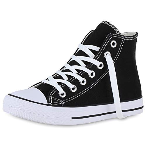 SCARPE VITA Damen Sneaker High Basic Turnschuhe Schnürer Freizeit Schuhe Canvas Stoff Schnürschuhe 174039 Schwarz 39