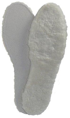 Harrys-Collection Damen Herren Sehr dicke Sohle aus echtem Lammfell, Weiß, 41 EU