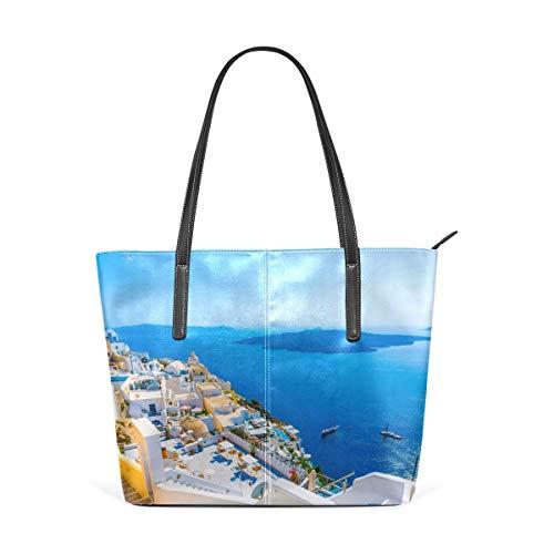 jhin Womens Purse Amazing Greek Islands PU Leather Shoulder Tote Bag Borsa a spalla Backpack Ladies Travel Shopping Bags