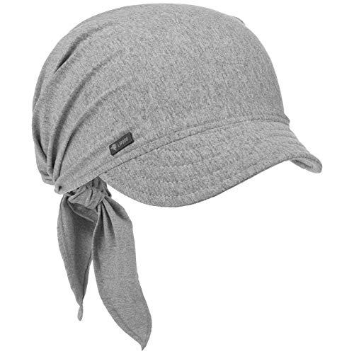 Lipodo Bandana Cap mit Schleifenbindung Damen - Sonnencap Handmade in Italy - Kopftuch mit Schirm - Visor One Size (54-60 cm) - Sommercap aus Baumwolle - Mütze Frühjahr/Sommer grau One Size