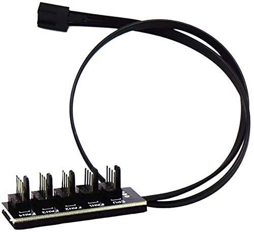 Aspiree PWM Fan Hub, 4-Pin Macho para CPU Fan PC Fans Hub, Ventilador Multi Splitter Conector Cable Adaptador para Ventiladores de Refrigeración del Ordenador 4-Pin Pin