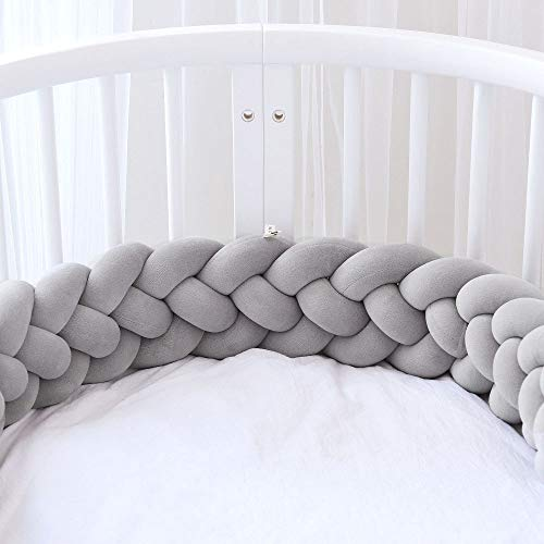 Icegrey Bettumrandung Babybett Bettschlange Geflochten Kinderbett Stoßfänger 4 Weben Baby Nestchen Bettumrandung Geflochtene für Krippe Kinderbett mit Wäschesack, Grau, 3m
